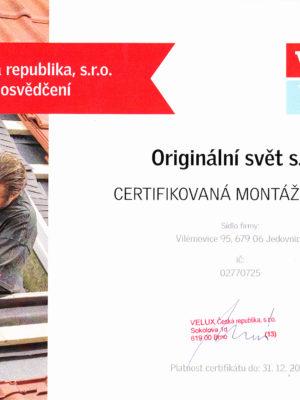 Certifikovana firma VELUX_2020